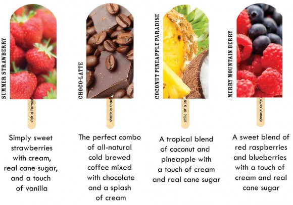 JonnyPops gourmet frozen popcicles. Strawberry, Choco-latte, coconut pineapple, mountain berry