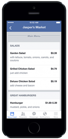 facebook menu mobile