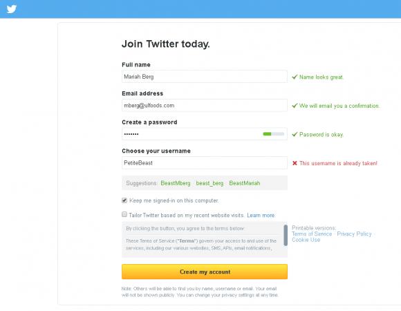 create account screenshot