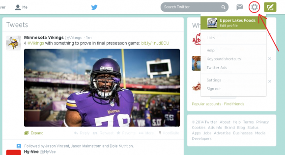 edit profile screenshot arrow